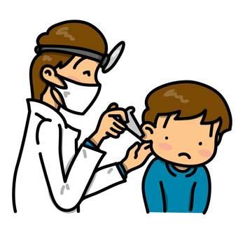 在耳鼻喉科接受耳朵診斷的男孩