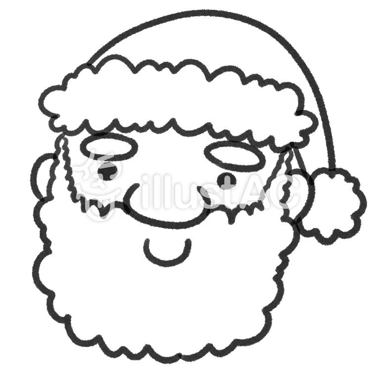 サンタクロースの顔お面の台紙線画塗り絵イラスト No 944667無料