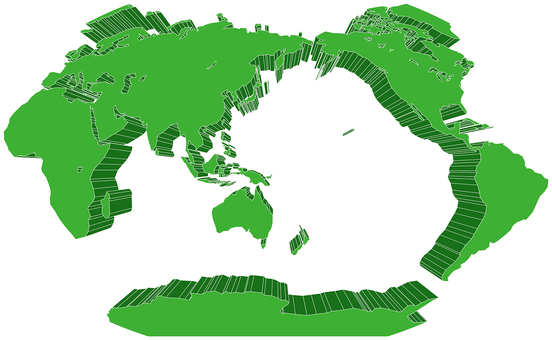 Winkel projection world map-solid