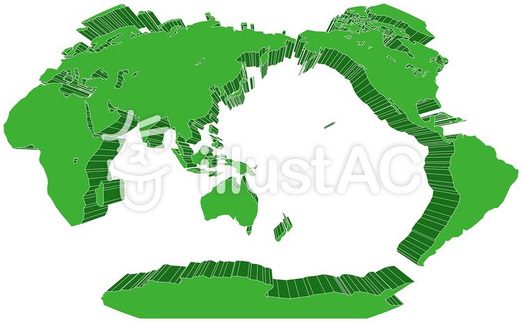 ヴィンケル図法世界地図-立体のイラスト