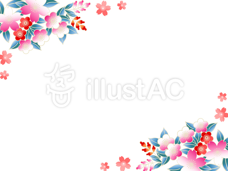 Ai和風桜梅の背景壁紙フレーム2イラスト No 166912無料