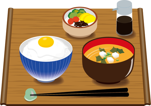 Food breakfast (in Japanese) Rice with eggs