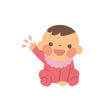 Baby girl, raise one hand, posing