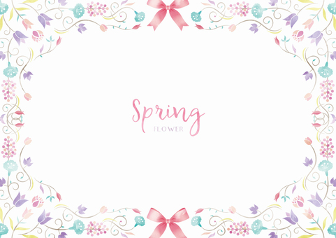 Spring background frame 017 flower watercolor