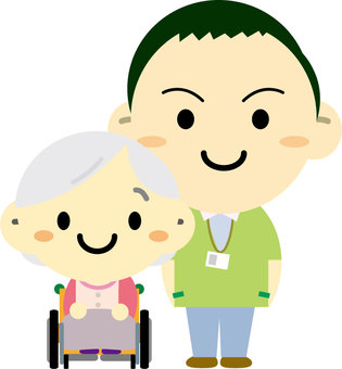 A wheelchair grandma and a caregiver male