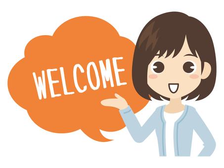 B608_Women Hand Sign WELCOME