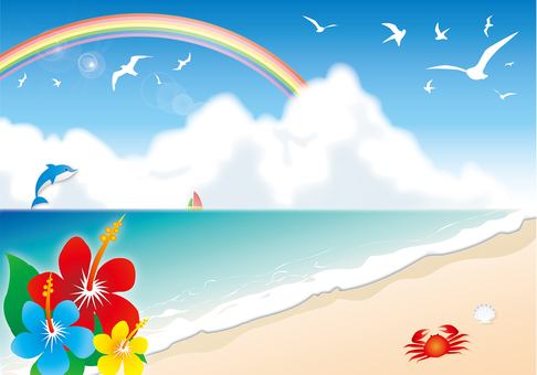 Hibiscus, seaside and rainbow illustration