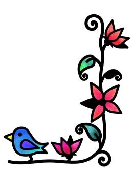 잘라 그림 바람 꽃과 작은 새
