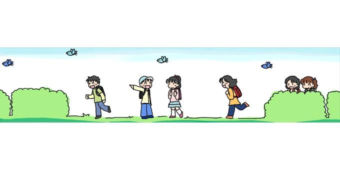 초등학생 등하교 라인 (컬러)