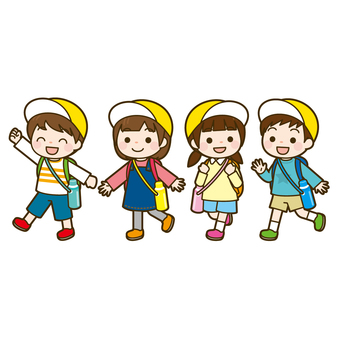 Four children walking on an excursion