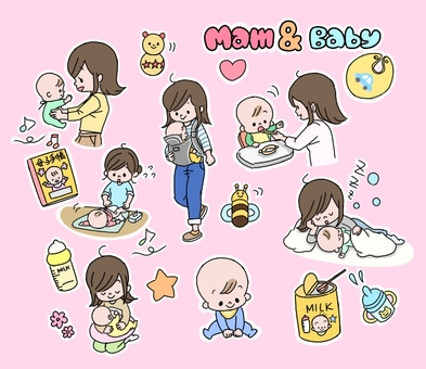 Baby and mom set illustration