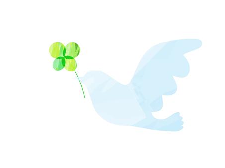 平和の鳩_水彩風_水色