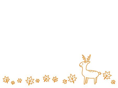 在秋季葉子上的單色鹿
