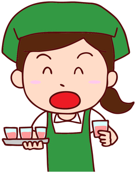 Illustration of a woman who recommends drinking tasting