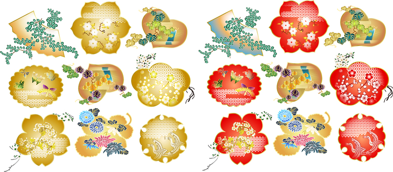 ai Japanese style gold and red various 18 pieces set