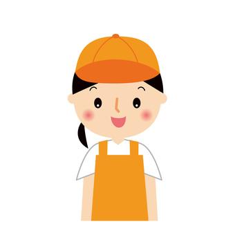 Female saleswoman in apron upper body illustration