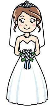 Bride woman in white wedding dress
