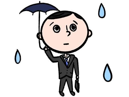 An office worker holding an umbrella