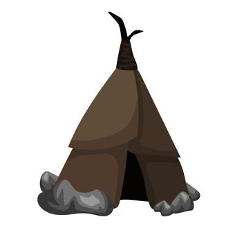 Tent on an uninhabited island