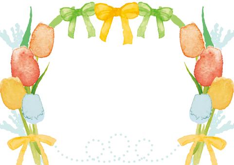 水彩風格鬱金香框架