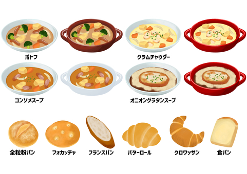 Illustration set of western soup and bread _89