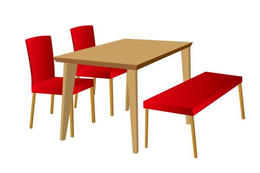 赤のダイニングテーブルとベンチ