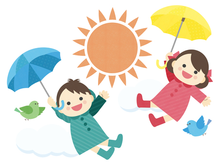 Illustration of rainy season _ sunny _ umbrella _ children