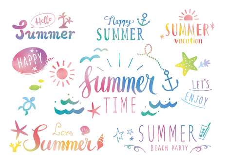 Summer lettering etc. Water color