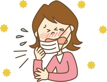 Hay fever women mask sneeze