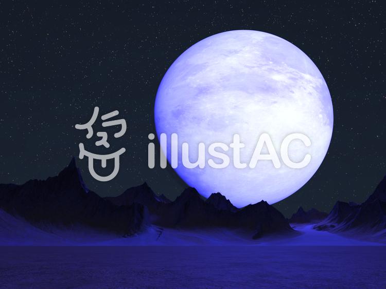 巨大な月が見える惑星の夜のイラスト
