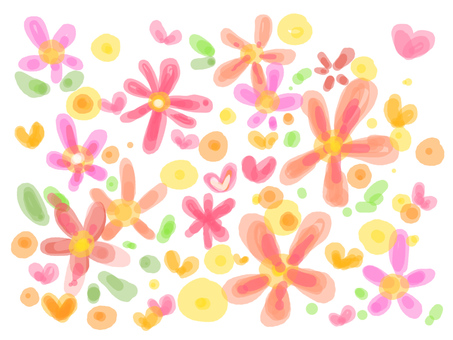【Background material】 Flowers and Heart