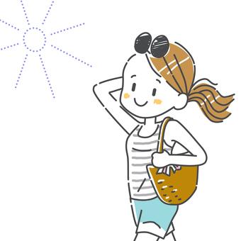Woman walking with sunshine