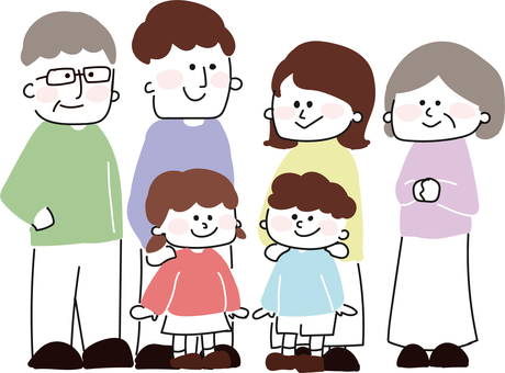 Hand drawn people (3 generation family)