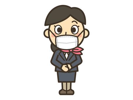 Female sales clerk wearing a mask_001
