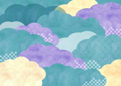 일본식 디자인 소재 033 구름의 배경