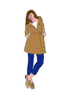 A figure of a woman standing wearing a coat
