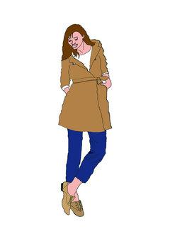 一個身穿外套的女人的身影