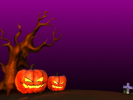 Parent and child of Halloween pumpkin