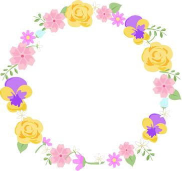 다양한 꽃의 원형 프레임