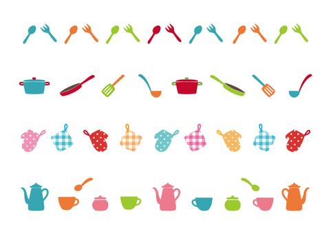 Colorful kitchen line