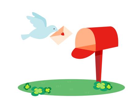 A mailbox and a bird