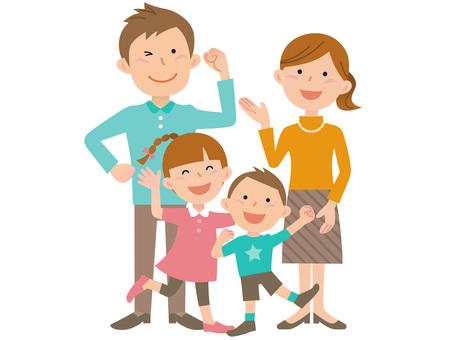 51019. Four family, whole body