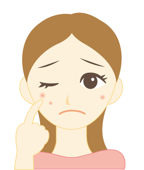 여드름을 걱정하는 여성