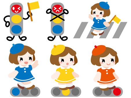 Traffic safety traffic lights and girls