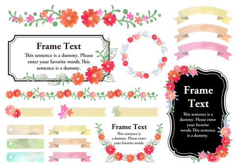 Watercolor material 018 Flower frame set
