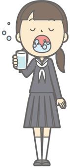 Middle school girl winter - rattle gargle - whole body