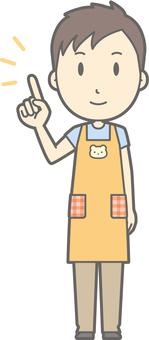 Nursery teacher man - pointing smile - whole body