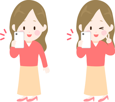 Illustration of a young woman taking a picture with a smartphone