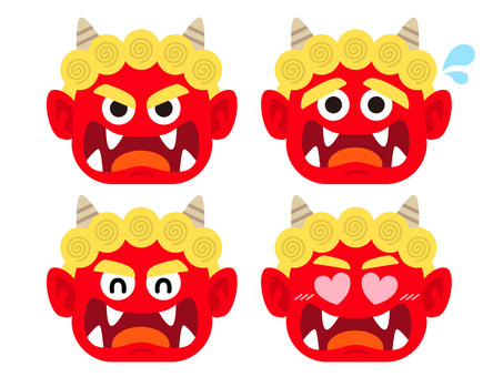 Facial expression illustration set of red demon