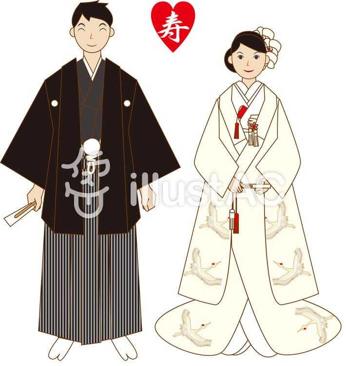 白無垢と紋付袴のイラスト
